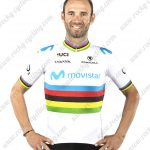 2019 Team MOVISTAR UCI World Champion Jersey Cycling Outift Shirt White Rainbow