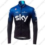 2019 Team SKY Castelli Riding Outfit Cycling Long Sleeves Jersey Blue Black