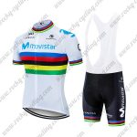 2019 Team MOVISTAR UCI World Champion Cycling Outfit Riding Bib Kit White Rainbow